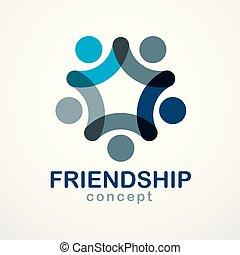 チームワーク, logo., アイコン, チーム, 夢, 青, 統一, ベクトル, 共同, design., 概念, ...