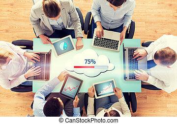 チーム, コンピュータ, 雲, ビジネス, 計算