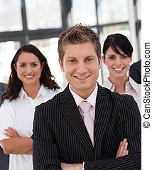 チーム, ビジネス, 一緒に働く, 幸せ