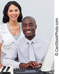 チーム, ビジネス, 仕事, 多民族, コンピュータ