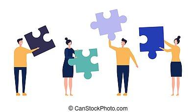 チーム, マレ, チームワーク, ベクトル, 特徴, concept., 女性, ビジネス, illustration., 困惑, 共同, 詳細, 平ら