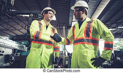 チーム, 労働者, メンバー, 工場, 握手