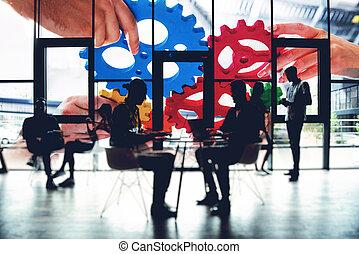 チーム, 効果, ダブル, concept., チームワーク, ビジネス, ライト, さらされること, 小片, 連結しなさい, gears., 統合, 協力