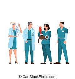 チーム, 地位, 医学の スタッフ, 病院, uniform.