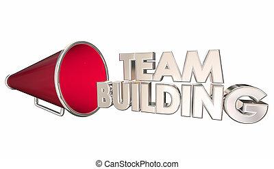 チーム 建物, 求人, 参加しなさい, 私達, bullhorn, メガホン, 3d, イラスト