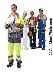 チーム, 建設, worker.