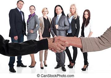 チーム, 握手, 強い, ビジネス