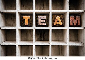 チーム, 概念, 木製である, 凸版印刷, タイプ, 中に, 引き出し