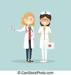 チーム, 病院, 女, nurse., 医者
