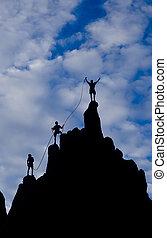チーム, 登山家, summit., 手を伸ばす