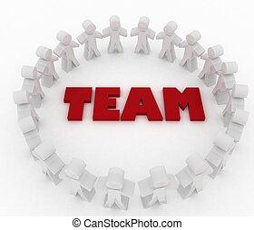 チーム, 立ちなさい, 単語, のまわり, 人々