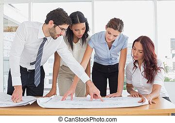 チーム, 計画, ビジネス, 読書, 仕事