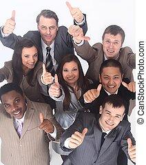 チーム, multicultural, の上, ビジネス, 親指