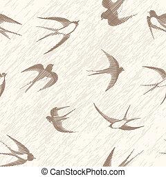 ツバメ, set., seamless, 鳥, 型