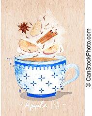 ティーカップ, お茶, クラフト, アップル