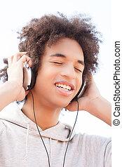 ティーネージャー, 聞くこと, へ, ∥, music., 朗らかである, アフリカの家系, ティーネージャー,...