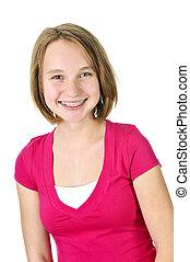 ティーンエージャーの少女, 支柱, 微笑