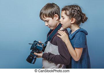 ティーンエージャーの少女, gr, カメラ, 監視, 男の子, 映像