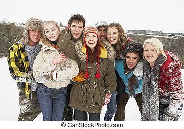 ティーンエージャーの, グループ, 雪が多い, 楽しみ, 友人, 持つこと, 風景