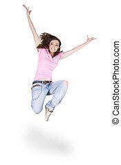 ティーンエージャーの, ダンス, 上に, 白, 女の子, ヒップホップ
