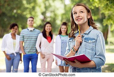 ティーンエージャーの, ノート, 日記, 学生, 女の子, ∥あるいは∥