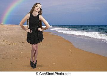 ティーンエージャーの, 女, 浜