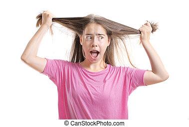 ティーンエージャーの, 彼女, 毛の引き, 女の子, 失望させられた, 支柱, から