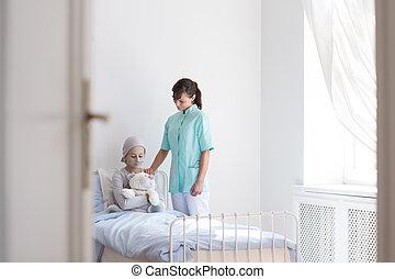 ティーンエージャーの, 患者, 有用, がん, 医学, 慰めとなる, 病気, 看護婦, 中心