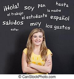 ティーンエージャーの, 用語, に対して, 確信した, スペイン語, 微笑の女の子