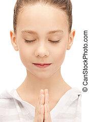 ティーンエージャーの, 祈ること, 女の子