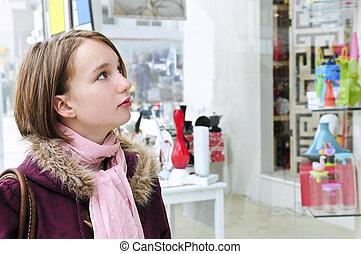 ティーンエージャーの, 買い物, 女の子