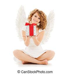 ティーンエージャーの, 贈り物, 天使, 女の子, クリスマス, 幸せ