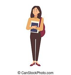 ティーンエージャーの, 隔離された, 大学, 肖像画, 女の子, style., 服を着せられる, 若い, 偶然, バックグラウンド。, 保有物, 白, 平ら, カラフルである, textbooks., イラスト, 学生, 学校, 大学, ベクトル, 生徒, ∥あるいは∥, 衣服