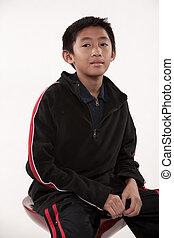 ティーン前, かわいい, アジア人, 若い少年