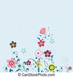 テキスト, あなたの, 場所, 花の意匠
