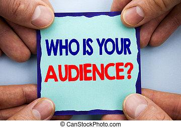 テキスト, ねばねばしたペーパー, あなたの, 発表, サービス, 研究, メモ, 書かれた, 保有物, 写真, ビジネス, 提示, question., 手, 顧客, ターゲット, finger., 聴衆, クライアント, showcasing, 手書き