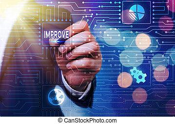 テキスト, よりよい, 開発, なる, 概念, 増加, improve., change., 成長しなさい, capacities, 意味, 作りなさい, 手書き