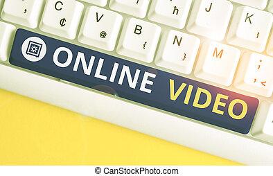 テキスト, インターネット, space., 背景, キー, 意味, 伝達, コピー, 取引, キーボード, メモ, 白, ビデオ, 空, ペーパー, の上, video., 上に, 手書き, pc, オンラインで, 概念