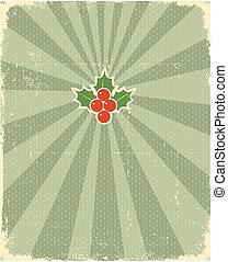テキスト, カード, クリスマス, 西洋ヒイラギ, 型