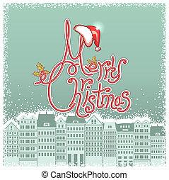 テキスト, カード, 背景, クリスマス, ベクトル, 都市の景観