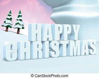 テキスト, クリスマス, 幸せ