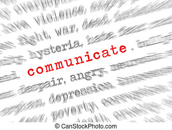 テキスト, コミュニケートしなさい, 効果, フォーカス, blured, ズームレンズ