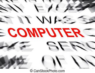 テキスト, コンピュータ, フォーカス, blured