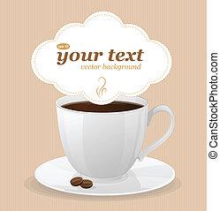 テキスト, コーヒー, ベクトル, 白いコップ