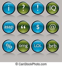 テキスト, シンボル, ボタン, メッセージ, 光沢がある, ラウンド
