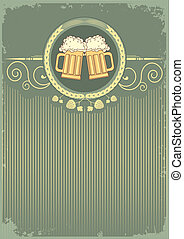 テキスト, ビール, グランジ, background.vector, イラスト
