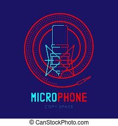 テキスト, フレーム, らせん状に動きなさい, ダッシュ, ストローク, デザイン, ロゴ, 青, マイクロフォン, 隔離された, レトロ, スペース, イラスト, 暗い背景, 線, コピー, アイコン, 10, アウトライン, ケーブル, eps, ベクトル