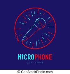 テキスト, フレーム, ダッシュ, ストローク, デザイン, ロゴ, 青, マイクロフォン, 隔離された, 円, スペース, イラスト, 暗い背景, 線, コピー, アイコン, 10, アウトライン, ケーブル, eps, ベクトル, 半径