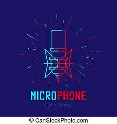 テキスト, フレーム, ダッシュ, ストローク, 半径, ロゴ, 青, マイクロフォン, 隔離された, レトロ, スペース, イラスト, 暗い背景, 線, コピー, アイコン, 10, アウトライン, eps, ベクトル, デザイン