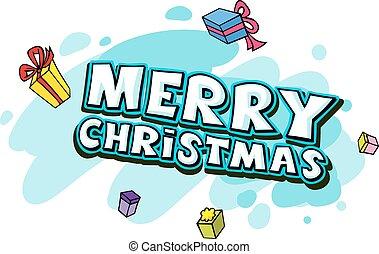 テキスト, ベクトル, -, クリスマス, 陽気